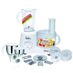 Inalsa Food Processor Wonder Maxie Plus V2 700 - Watt with Blender Jar, Dry Grinding Jar, Chutney Jar, 11 Accessories 5 Yr. Warranty on Motor Citrus and...