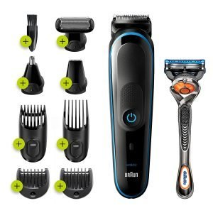 Braun 9-in-1 All-in-one Trimmer 5 MGK5280, Beard Trimmer for Men, Hair Clipper and Body Groomer with Autosensing Technology, 13 length settings, 100 min runtime
