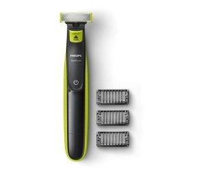 Philips QP2525 10 OneBlade Hybrid Trimmer and Shaver with 3 Trimming Combs (Lime Green)