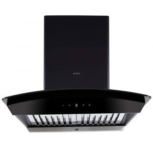 Elica 60 cm 1200 m3 hr Auto Clean Chimney (WDAT HAC 60 NERO, 2 Baffle Filters, Touch Control, Black)