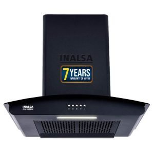 Inalsa 60 cm 1200 m³ hr Auto Clean Filterless Chimney (Zylo 60PBAC, Curved Glass, Push Button Control, Black)