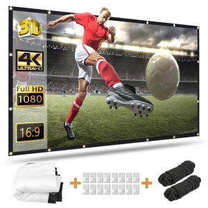 120 inch Projector Screen, Taotique 4K HD