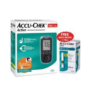Accu-Chek-Active-Blood-Glucose-Meter-Kit-Vial-of-10-strips-free